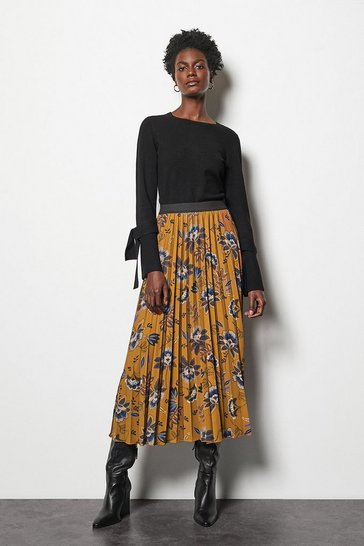 Womens Tobacco Printed Pleated Skirt