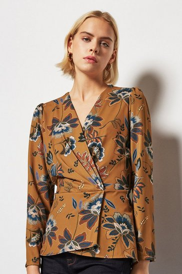 Womens Tobacco Printed Wrap Blouse