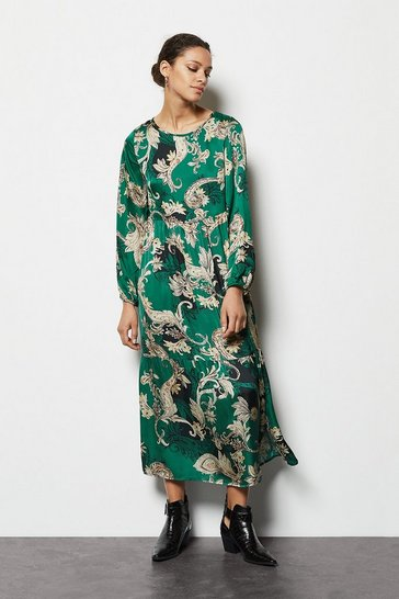 Green Paisley Print Tiered Maxi Dress