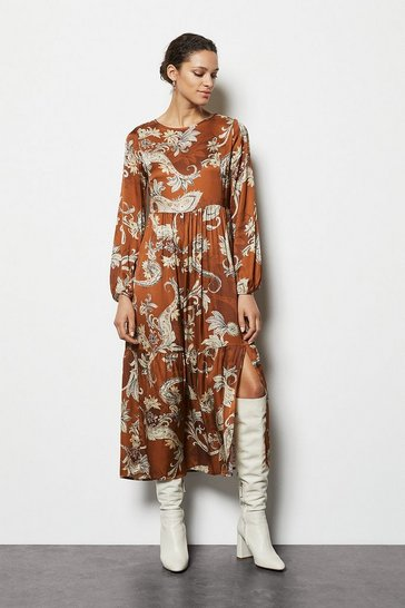 Womens Rust Paisley Print Tiered Maxi Dress