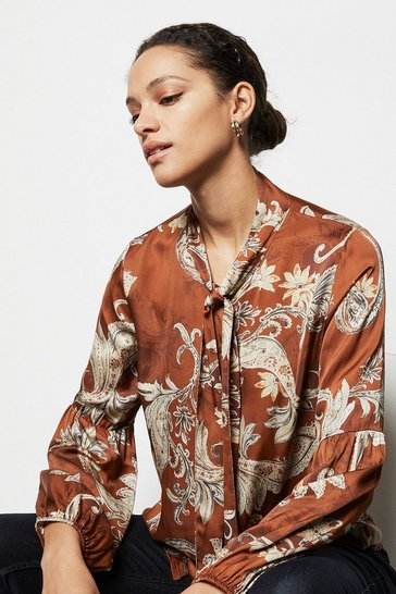 Womens Rust Paisley Print Blouse