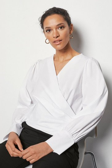 Womens White Wrap Front Shirt