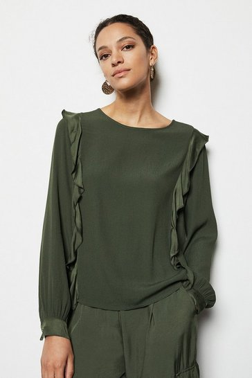 Womens Khaki Frill Detail Blouse