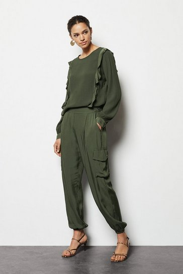 Womens Khaki Cuff Detail Combat Trousers
