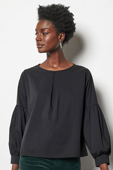 Womens Black Pleat Front Blouse