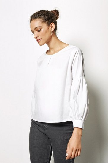 Womens White Pleat Front Blouse