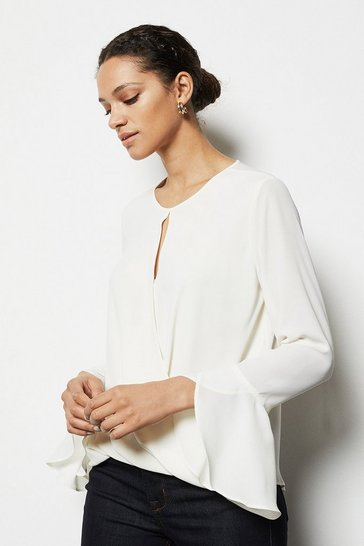 Womens Ivory Draped Wrap Shirt