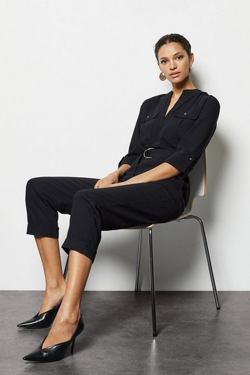 Womens Black Belted Jumpsuit