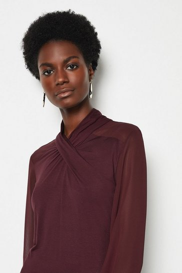 Purple Twist Neck Jersey Top