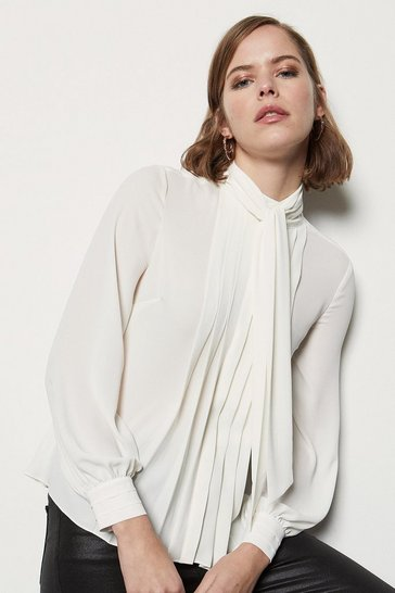 Womens Ivory Fluid Pussy Bow Top