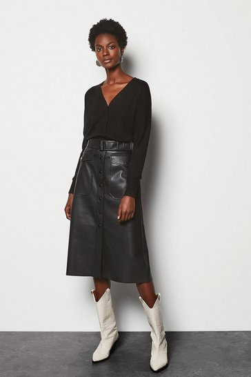 Womens Black Midi A-Line Faux Leather Skirt