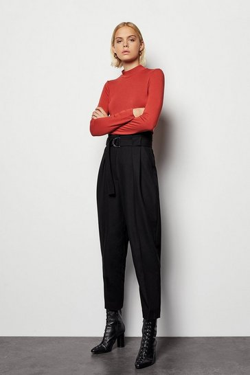 Womens Black Cinch Waist Trouser