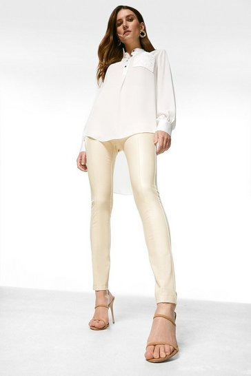 Cream Faux Leather and Ponte Leggings