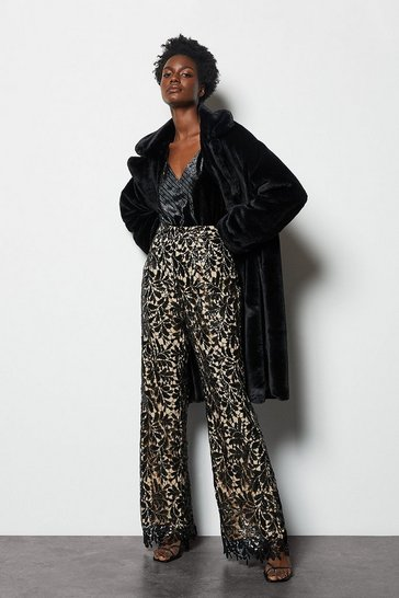 Black Faux Fur Long Line Coat