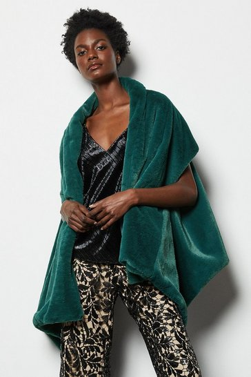 Womens Emerald Faux Fur Shawl