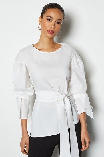 Womens Ivory Tie Front And Tie Sleeve Cotton Shirt