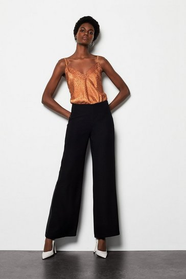 Womens Black Wide Leg Tuxedo Trim Pant Satin