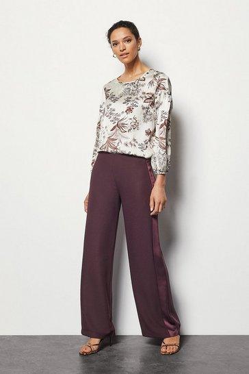 Wine Wide Leg Tuxedo Trim Pant Satin