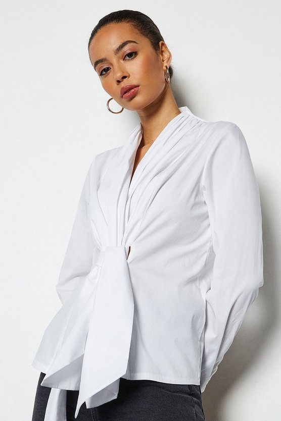 White Cotton Twist Front Long Sleeve Shirt