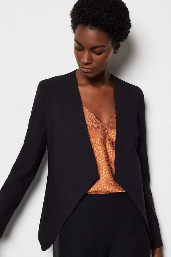 Black Crop Waterfall Tailored Blazer