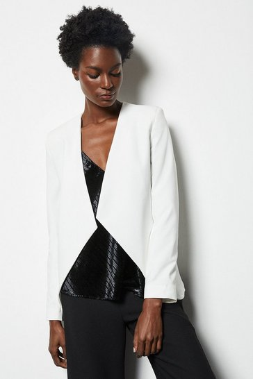 Womens White Crop Waterfall Tailored Blazer