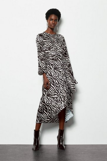 Womens Blackwhite Twist Satin Front Zebra Midi Dress