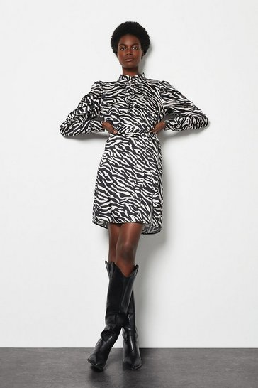Womens Blackwhite Ruffle Zebra Print Lined Dress