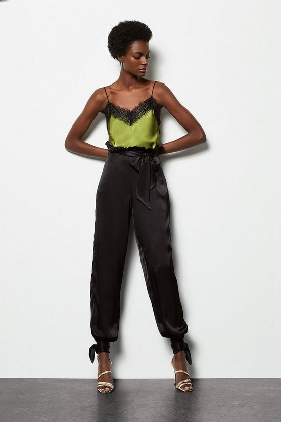 Womens Black Paperbag Satin Trousers