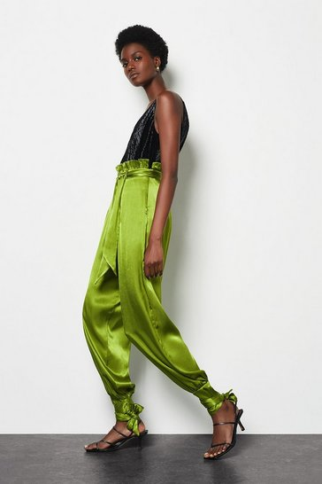 Womens Lime Paperbag Satin Trousers