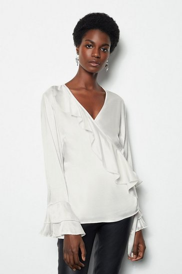 Womens Ivory Ruffle Sleeve Wrap Blouse