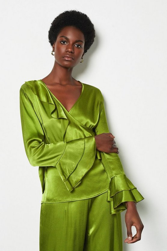 Lime Ruffle Sleeve Wrap Blouse