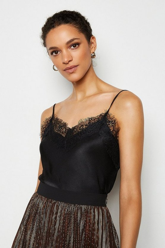 Black Satin Stretch Lace Cami