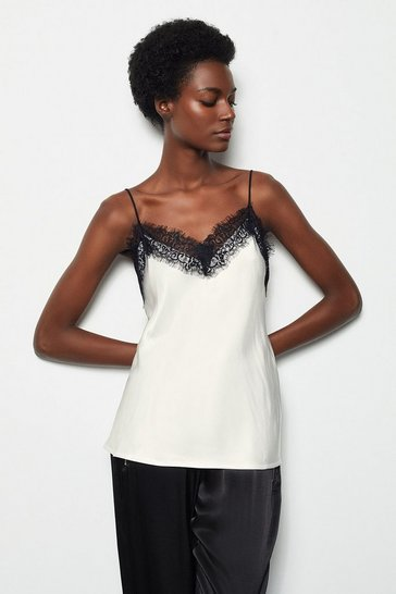 Womens Ivory Satin Stretch Lace Cami