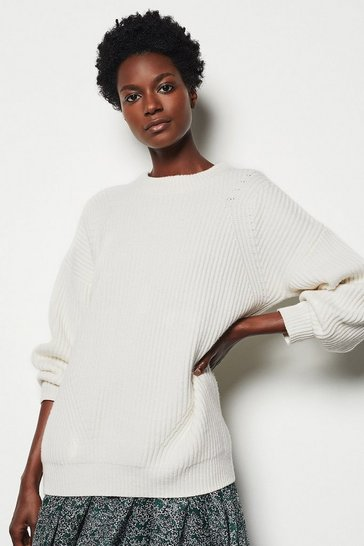 Ivory Fisherman Chunky Rib Jumper