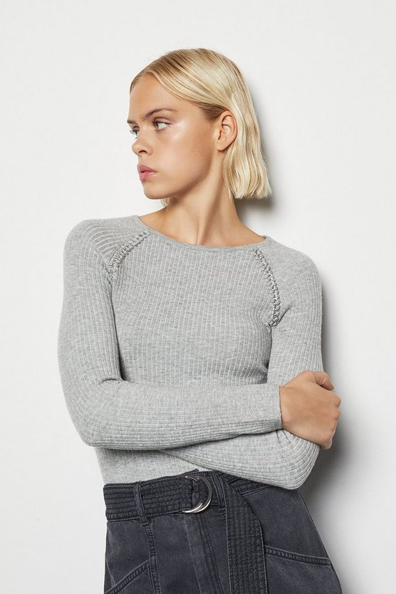 Womens Grey Chain Shoulder Knit Jumper