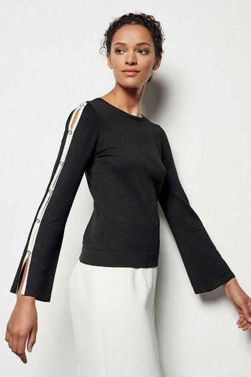 Womens Black Pearl Detail Knit Collection Jumper
