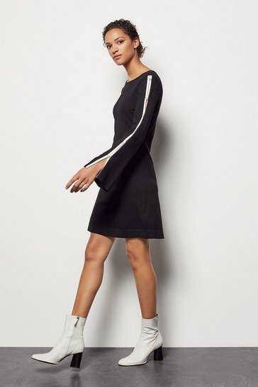 Womens Black Pearl Detail Knit Dress