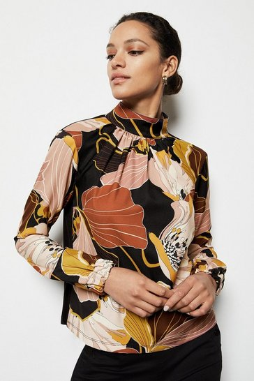Black Floral Twill Pleated Front Blouse
