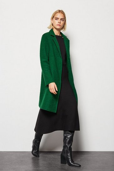 Womens Emerald Textured Wool Coat
