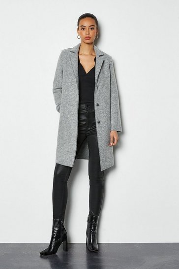 Grey Textured Wool Coat