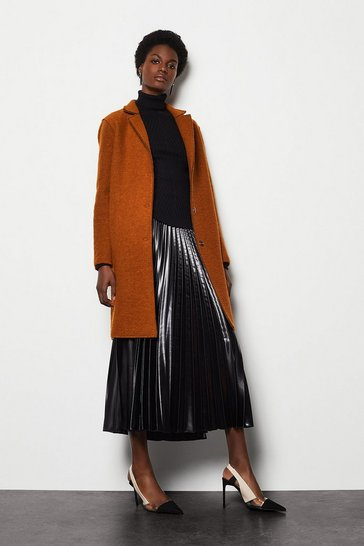Womens Rust Textured Wool Coat