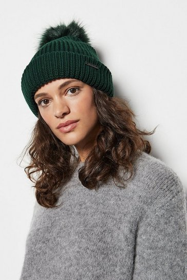 Womens Green Rib Knit Hat