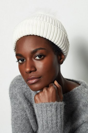Womens Ivory Rib Knit Hat