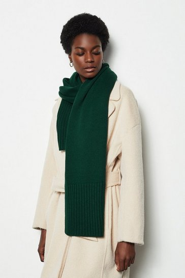 Womens Green Rib Knit Scarf