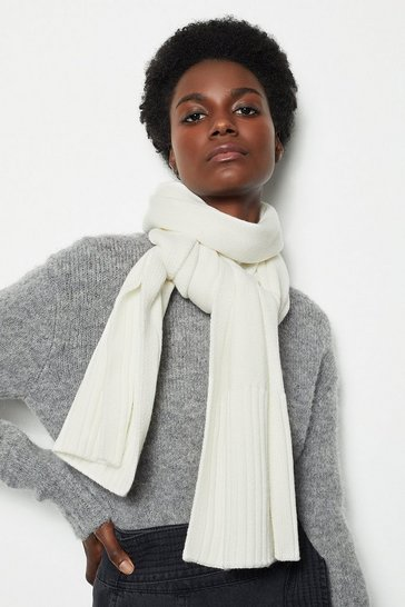 Womens Ivory Metalwork Knit Scarf
