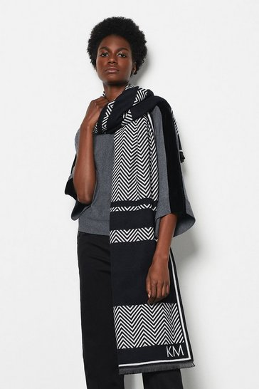 Womens Black Chevron Woven Scarf