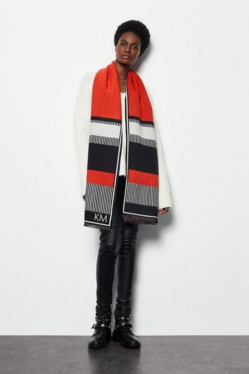 Womens Red Colour Block Woven Scarf