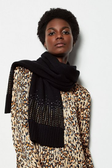 Black Embellished Knitted Scarf