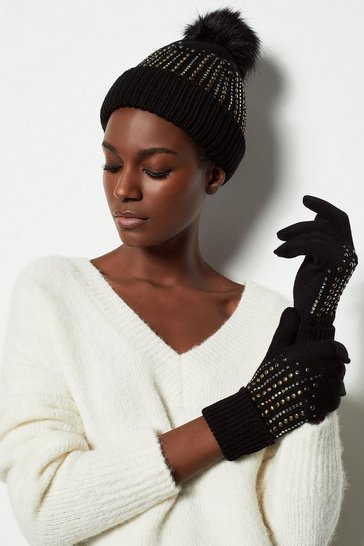 Womens Black Crystal Ombre Knit Gloves