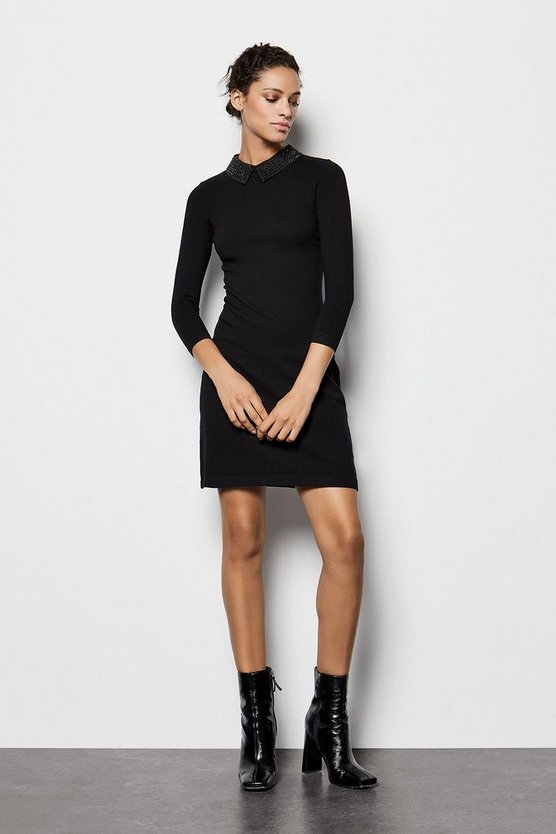 Black Crystal Collar Knit Dress